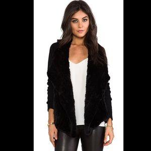 Theory Gwenivere Rabbit Fur Front & Wool Cardigan
